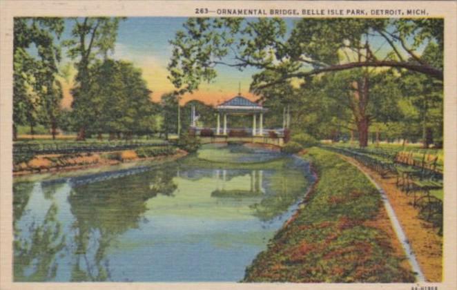 Michigan Detroit Ornamental Bridge Belle Isle Park Curteich