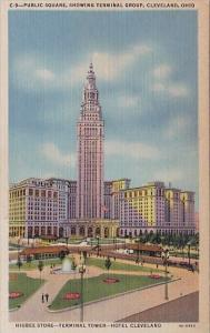 Public Square Showing Terminal Group Higbee Store Terminal Tower Hotel Clevel...