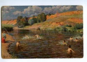 147640 Nude Boy swimming RUSSIA Hot Day by GOROKHOV Vintage PC