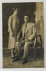 RPPC 1920s European Couple Studio Portrait A Mnaxae Studios Postcard G5