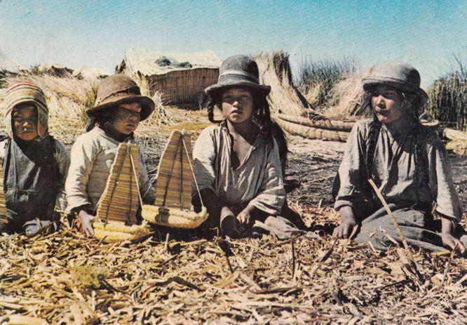 Bolivia Mountain Uros Children Building Wooden Toy Boats Crafts 1960s Postcard