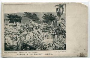 Military Hospital Remains After Earthquake January 14 1907 Jamaica postcard