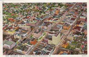 Illinois Bloomington Aerial View Of Business District 1941 Curteich