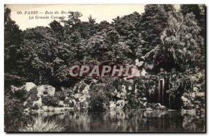 Old Postcard Paris Bois de Boulogne The large waterfall
