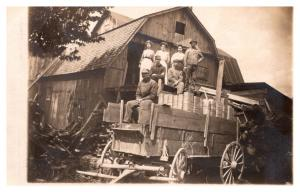 Farmers Wagon ,  Family standing on top , RPC