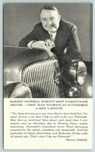 1934 ChicagoWorld's Fair  Ad~Chrysler Plymouth~Barney Oldfield~Mile a Minute