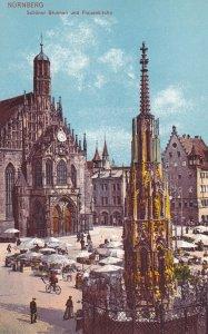 NUERNBERG, Bavaria, Germany, 1900-1910s; Schoner Brunnern Und Frauenkirche