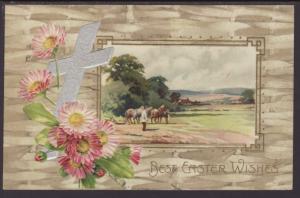 Best Easter Wishes,Cross,Flowers,Scene Postcard