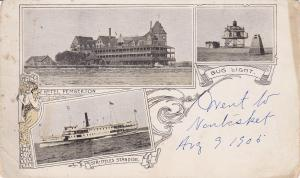 NANTASKET BEACH , Massachusetts, 1906 ; 3-Views, Bug Light(Lighthouse), Hotel