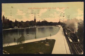 Postcard Used Lake Elizabeth North Side Park Pittsburg PA LB