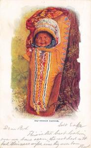 Native Americana~Indian Baby~Smiling Papoose on Board~Leans on Tree~Emboss~1903