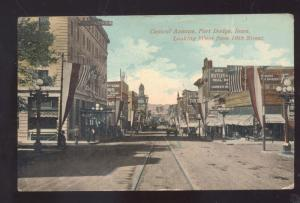 FORT DODGE IOWA DOWNTOWN STREET SCENE ANTIQUE VINTAGE POSTCARD STOVER MO.