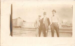F29/ Urbana Cable Ohio RPPC Postcard 1911 Men Occupational Railroad MP Fox