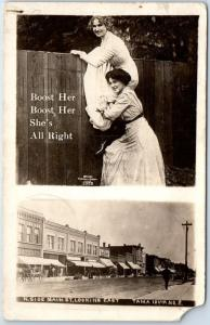 TAMA, Iowa RPPC Photo Postcard Main Street Scene w/ Girls Climbing Fence 1914