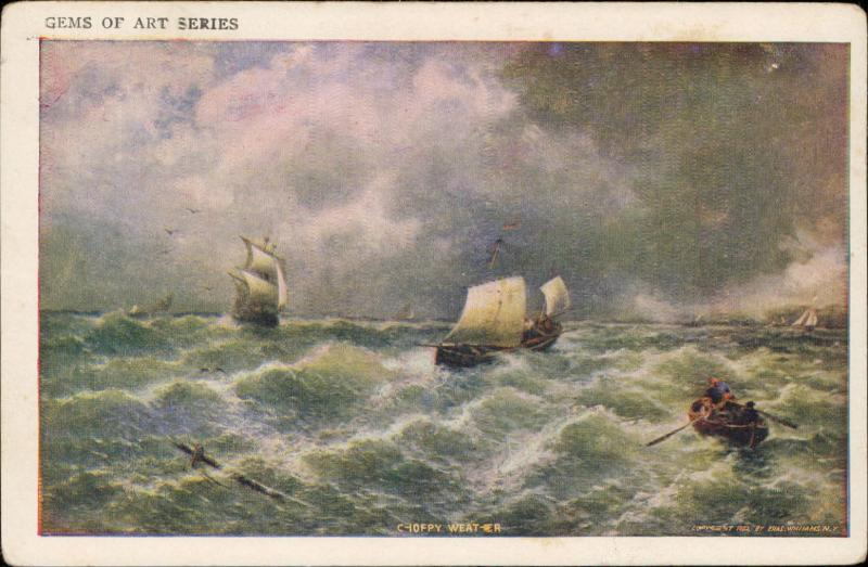 Choppy weather boats on rough sea Gems of Art Series