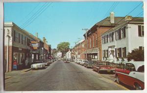 P782 ca1960,s rexall drugs vintage cars damariscotta maine street scene
