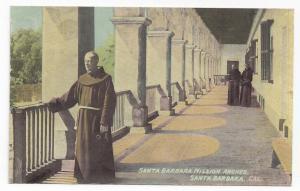 California Santa Barbara Mission Arches Monks Corridor MFBerkey Vintage Postcard