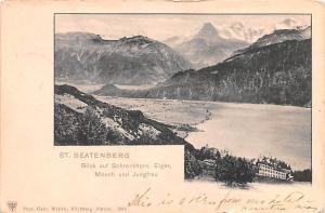 Switzerland Old Vintage Antique Post Card St Beatenberg 1901 Missing Stamp