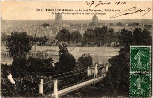 CPA TOURS a vold'oiseau - Le Pont Bonaparte l'hotel de ville la tour... (298570)