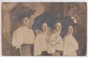 RPPC, Four Women with Big Hats