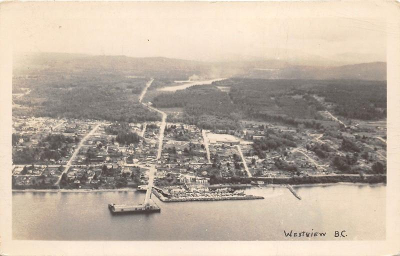 Powell River-Westview British Columbia Aerial View~1940s RPPC-Postcard