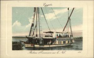 Egypt Excursion Steamer Boat Bateau Nile River c1910 Postcard EXC COND