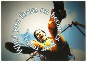 What You Focus On Becomes Your Reality Man on Swing Psychology Quote Postcard