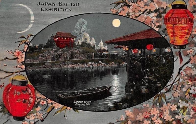 Japan British Exhibiton Garden of the Floating Isle, Boat Bateau Moonlight