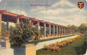 Chicago Illinois~Garfield Park-Pink Flowers in Garden & Pots along Pergola?~1911