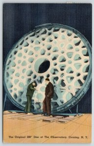 Corning New York~Observatory~2 Fellas Eye 200 Inch Telescope Disc~1946 Linen PC