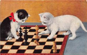 Cats Playing Chess Game Postcard