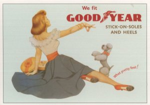 Good Year Stick On Soles Toy Pet Dog Poodle Advertising Postcard