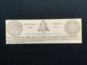 1862 Advert, John Warner & Sons, Cripplegate London, Bell & Brass Founders, rf2