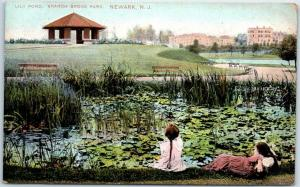 Newark, New Jersey Postcard Lily Pond, Branch Brook Park Girls on Shore 1909
