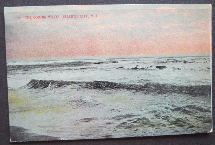 The Coming Waves Atlantic City NJ Atlantic Postcard Co #91