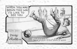 Old Vintage Bowling Postcard Post Card When you are down this way I'd li...