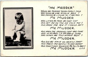 Vintage Comic Greetings Postcard ME MUDDER Poem Humor c1940s Unused