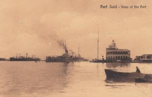 PORT SAID , EGYPT , 00-10s : View of the Port, War Ship, row boat