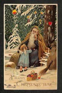 Christmas Purple Suited Santa Claus H-T-L Hold to Light Signed Mailick Postcard