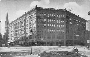 Syracuse New York~Yates Hotel~Men by Garden~Church Bknd~c1910 Postcard