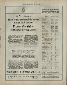 1927 The Reo Flying Cloud Motor Car Company Vintage Print Ad 3908