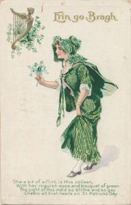 St Patricks Day Greetings Colleen Flirt with roguish eyes and Bouquet pm 1913 DB