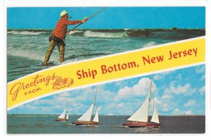 Greetings from Ship Bottom New Jersey Surf Fishing Sailboats Vintage NJ Postcard