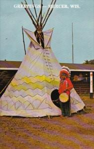 Chippewa Indian In Native Costume Greetings From Mercer Wisconsin