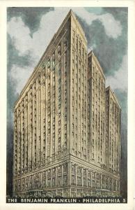 Philadelphia Pennsylvania~The Benjamin Franklin~1930s Lumitone Postcard