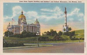 Iowa Des Moines State Capitol Building and Soldiers and Sailors Monument 1949...