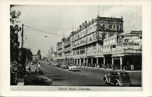 india, CALCUTTA, Grand Hotel, Cars (1950s) RPPC Postcard