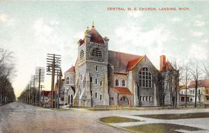 Lansing Michigan~Central Methodist Episcopal Church~Romanesque Stone Bldg~c1910