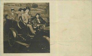 Seattle Washington C-1909 Early Auto AYP Pennant RPPC Photo Postcard 21-10548