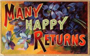 Many Happy Returns Vintage Embossed Postcard Standard View Card Flowers